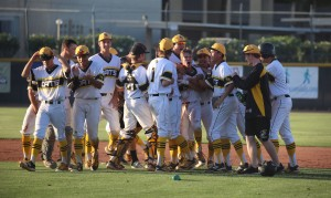 Saguaro celebrates after Dylan Sullivan's walk off infield single